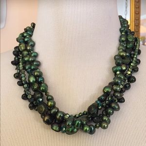 Emerald Green Four Stand Stunning Necklace
